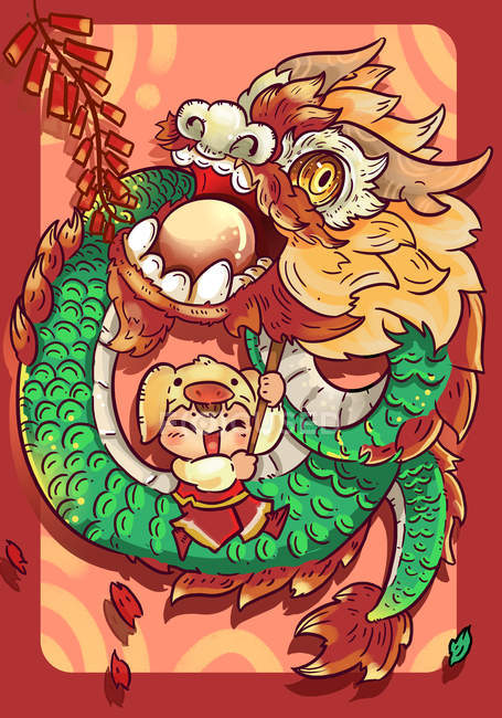 Beautiful creative illustration of happy child with dragon costume, Lion dance concept — Stock Photo