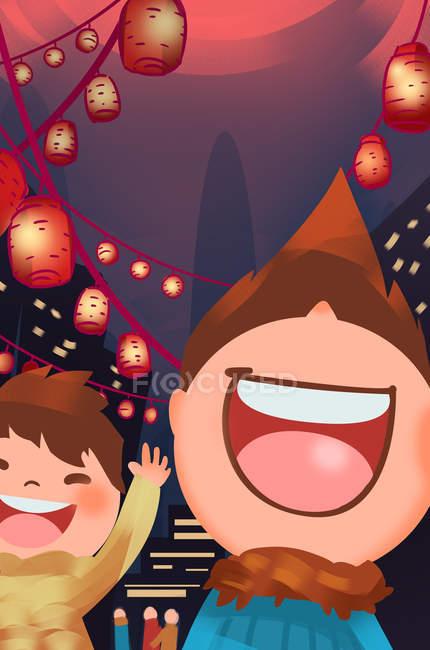 Красивий фестиваль творчих ліхтарів ілюстрація — стокове фото