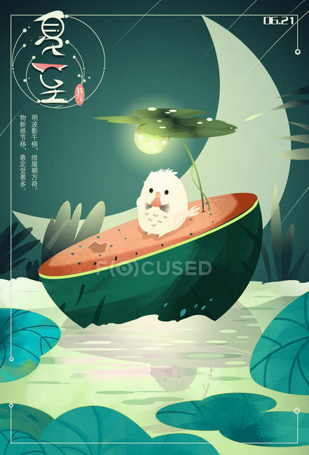 Beautiful creative illustration of chinese characters and chicken on watermelon at night, summer solstice concept — Stock Photo