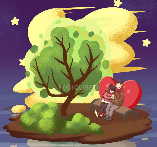 Valentines day illustration with loving couple sitting on bench under tree at night - foto de stock