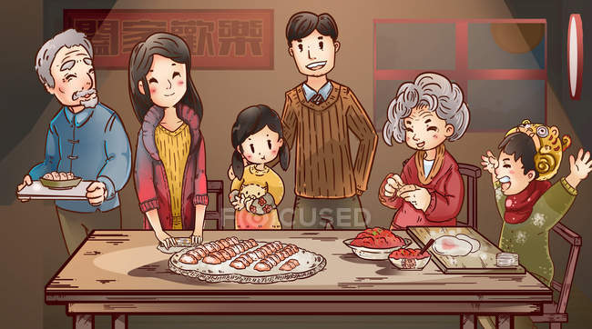 New Year illustration with happy family preparing dumplings — Stock Photo