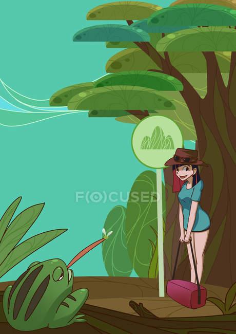 Прекрасна креативна ілюстрація з дівчиною, яка дивиться на жабу, подорожує концепцією — стокове фото