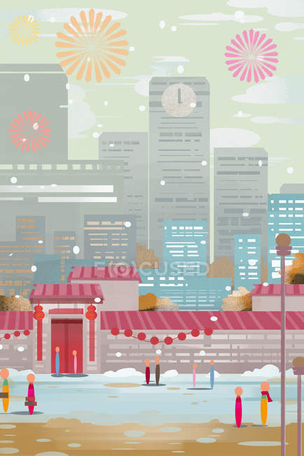 Творча ілюстрація Нового року з містом і феєрверками в небі — стокове фото