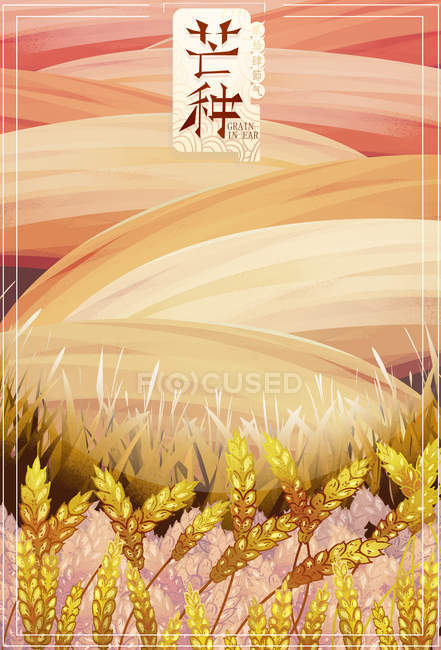 Beautiful creative illustration of amazing landscape with hills and wheat field — Stock Photo