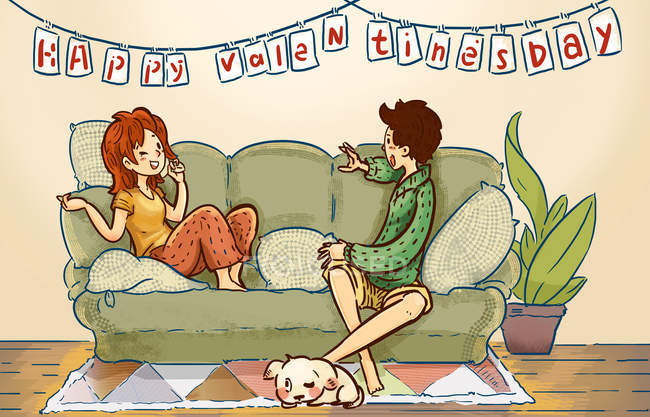 Beautiful creative illustration of happy young couple spending time together at home, happy valentines day concept — Photo de stock