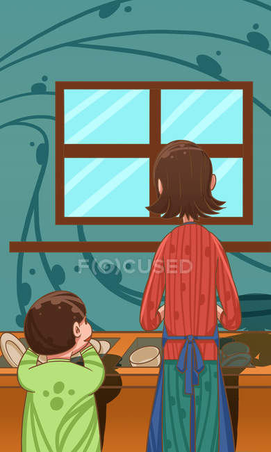 Creative illustration of mother and child washing dishes together, Housework concept — Stock Photo