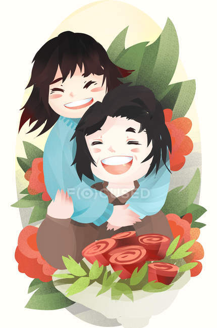 Mothers day illustration, happy girl hugging mother and bouquet of red flowers - foto de stock