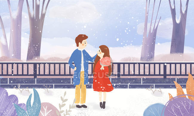 Creative illustration of happy young couple outdoor at Valentines day — Stock Photo