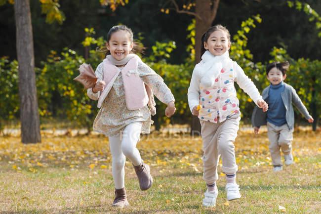 Ragazzo felice e ragazze che corrono sul prato nel parco autunnale — Foto stock