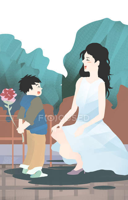 Creative illustration of happy boy presenting flower to smiling mother, Mothers day concept — Stock Photo