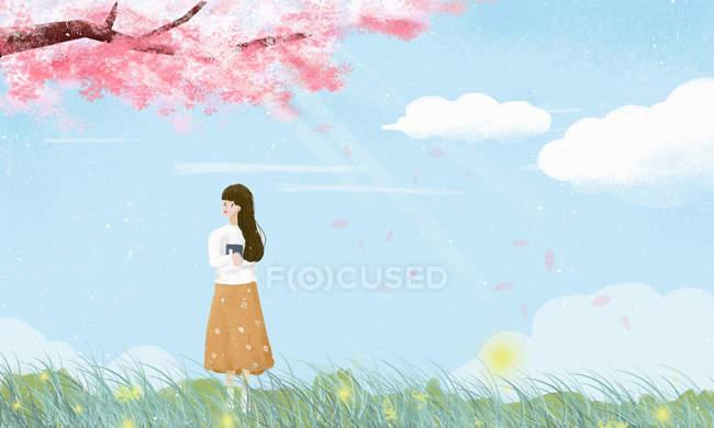 Красива ілюстрація молодої жінки на галявині і квітучій ялинці на весняній — стокове фото