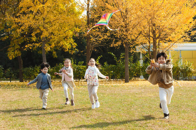 Happy boys and girls playing together with kite in park — стокове фото