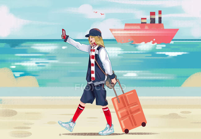 Beautiful creative illustration of happy young woman with suitcase taking selfie with smartphone at seaside — Stock Photo