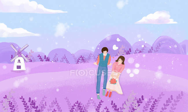 Beautiful creative illustration of young couple in love walking on lavender field, Valentines day concept — Stock Photo