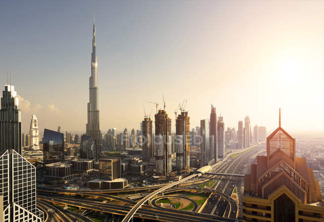 Elevated view of Dubai Downtown with modern skyscrapers — Stock Photo
