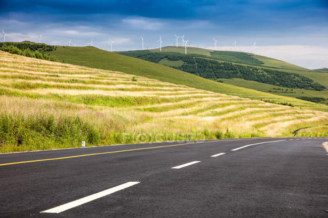 Strada asfaltata vuota, vegetazione rigogliosa e colline panoramiche — Foto stock