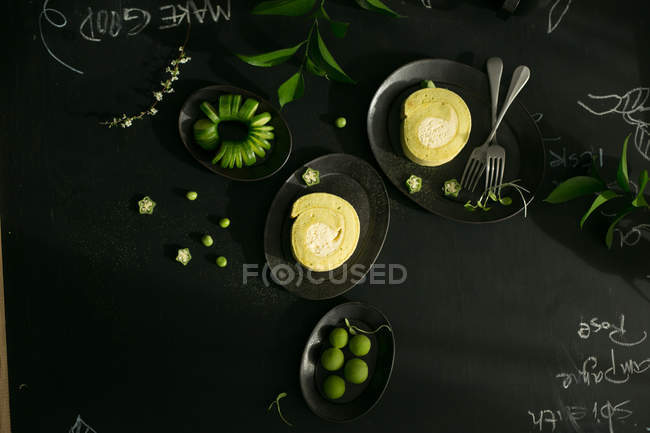 Top view of delicious healthy breakfast on black table — Stock Photo