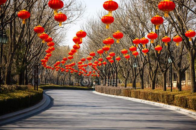 Lanternas chinesas vermelhas tradicionais penduradas acima da estrada — Fotografia de Stock