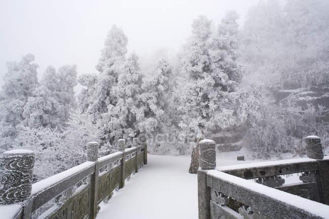 Гора Хенг в снегу в Ханъяне, провинция Хунань, Китай — стоковое фото