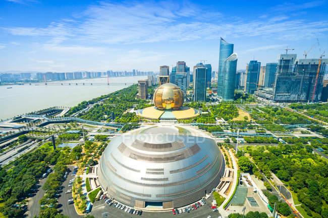 Vista aérea de Qianjiang Nueva ciudad de Hangzhou, provincia de Zhejiang, China - foto de stock