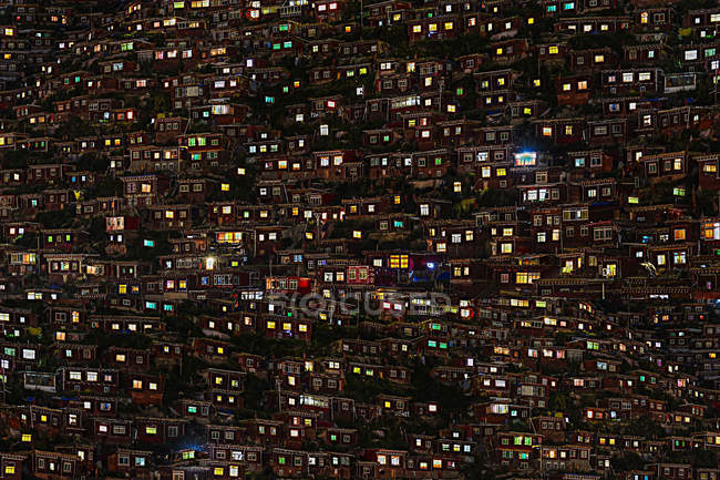 Aerial view of Wuming Buddhist College at night of Seda County, Sichuan province, China — Stock Photo
