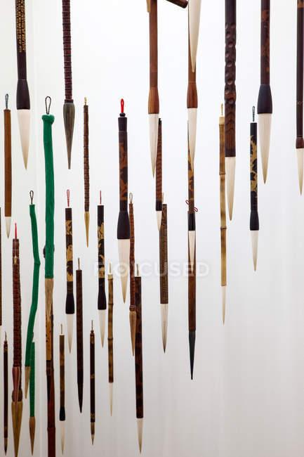 Primo piano di pennelli disposti su sfondo bianco — Foto stock