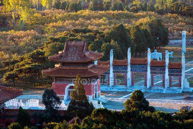 Aerial view of Ancient Eastern Qing tombs, Zunhua, Hebei, China — Stock Photo