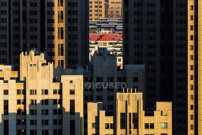 Aerial view of urban buildings at Qinhuangdao, Hebei, China — Stock Photo