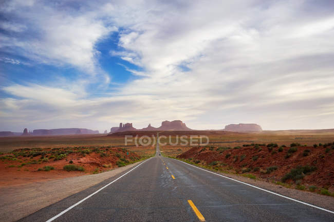 Beautiful landscape with road and mountains in Arches National Park — Stock Photo