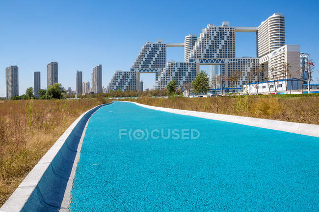 Amazing urban architecture at sunny day in Qinhuangdao, Hebei, China — Stock Photo