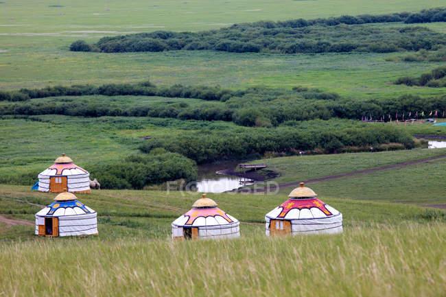 Красивый пейзаж с луговой сценой и монгольские дома — стоковое фото