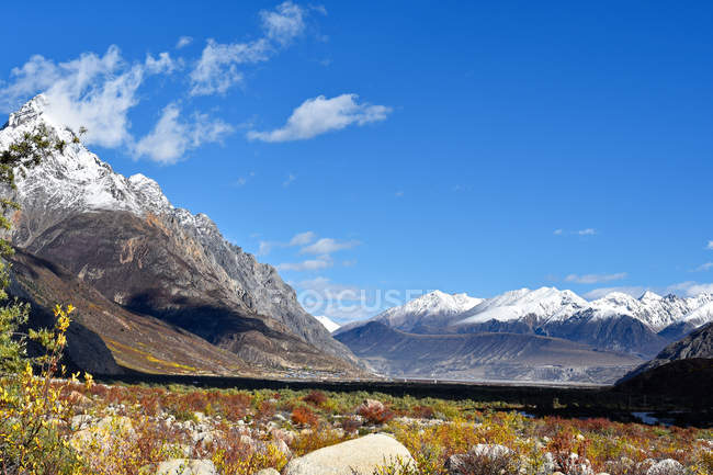 Beautiful landscape with snow-covered mountains and green vegetation in valley at sunny day, Tibet — Stock Photo