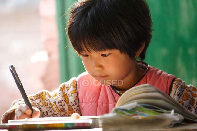 Focused chinese schoolgirl studying at desk in rural primary school — Foto stock