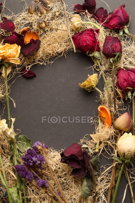 Top view of beautiful various arranged dried flowers on dark surface — Stock Photo