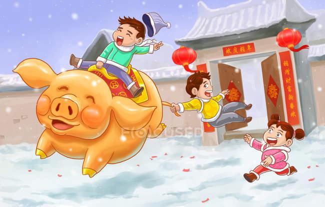 Celebra el año de la tarjeta de felicitación de cerdos con niños felices y cerdos. - foto de stock