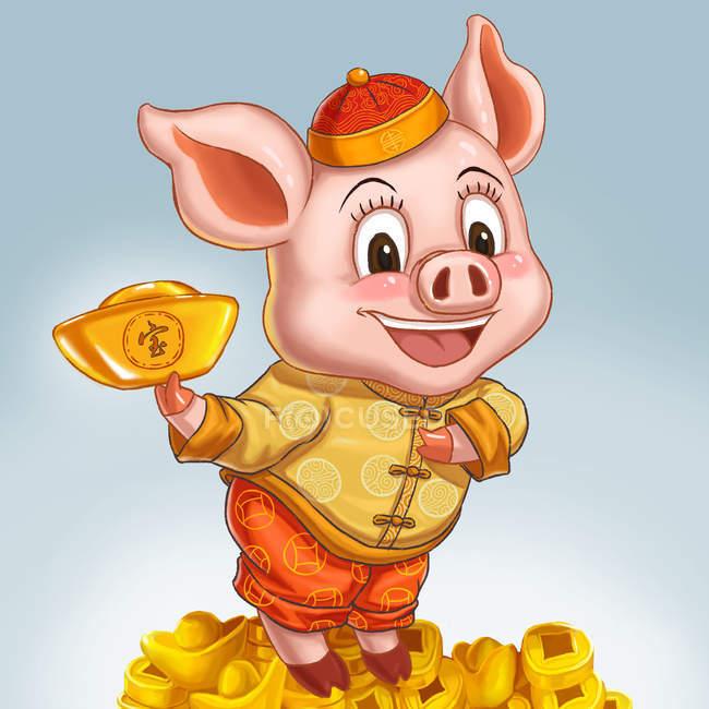 Celebra el año de la tarjeta de felicitación de cerdo con un bonito cerdo feliz. - foto de stock