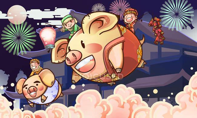 Celebra el año de la tarjeta de felicitación de cerdos con cerdos y niños voladores. - foto de stock