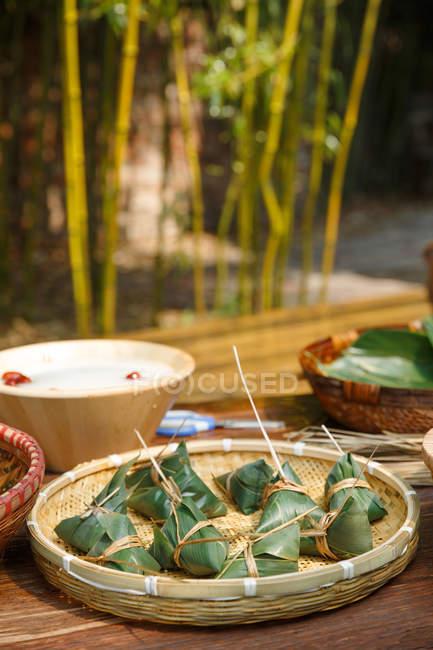 Nahaufnahme der Zutaten für traditionellen chinesischen Gourmet-Milchreis — Stockfoto