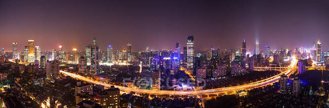 Aerial view of modern Shanghai City Architecture at night — Stock Photo