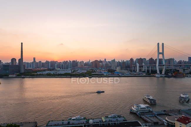 Vista aérea da arquitetura urbana moderna e paisagem urbana de Shanghai, Shanghai, China — Fotografia de Stock