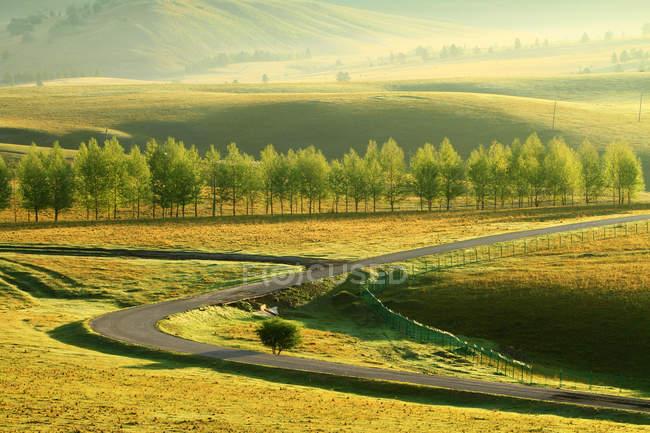Beautiful landscape with Greater Khingan Range in autumn, Heilongjiang Province, China — Stock Photo