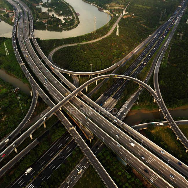 Вид з повітря Сіньчжоу шляхопровід міста Гуанчжоу, провінція Гуандун, Китай — стокове фото