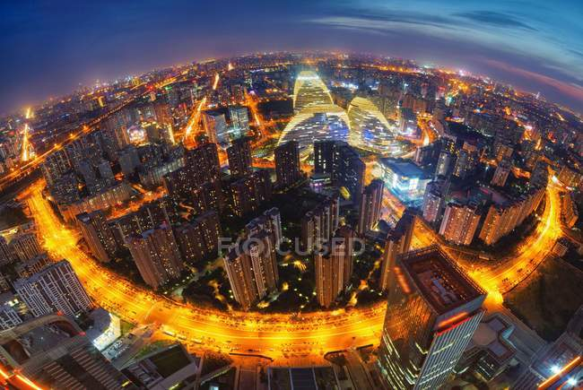 Aerial view of Wangjing, Beijing city buildings night scene — Stock Photo