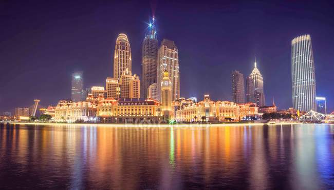 Night view of Tianjin City, China — Stock Photo