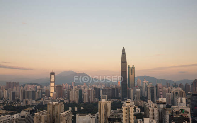 Urban architecture of Shenzhen City at Sunrise, Guangdong Province, China — Stock Photo