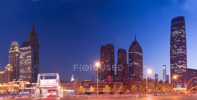 Night view of Haihe River in Tianjin City, China — Stock Photo
