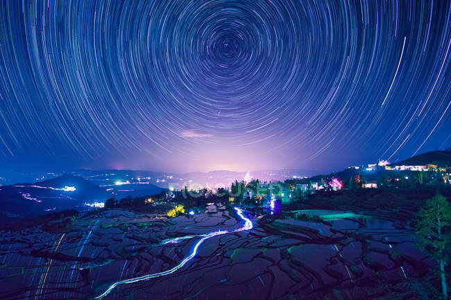 Night view of terraced field in Yuanyang, Yunnan Province, China — Stock Photo
