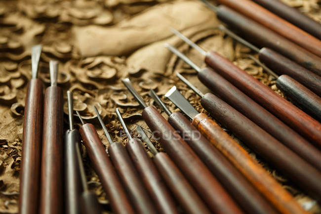 Traditional chinese woodworking engraving tools, close-up view — стокове фото