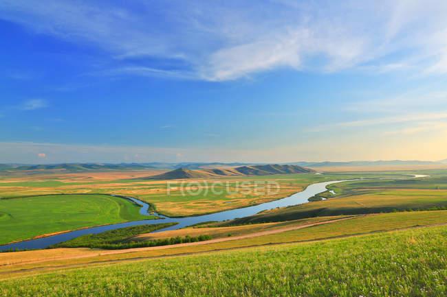 Beautiful river scenery at Hulun Buir, EerguNa, Inner Mongolia — Stock Photo