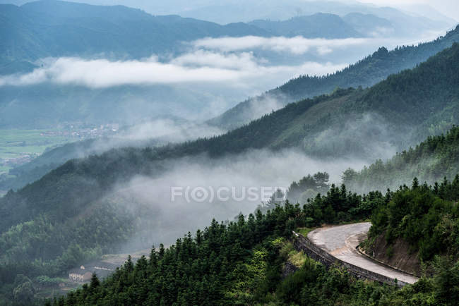 Amazing mountain landscape with winding road, green trees in scenic mountains in clouds — Stock Photo